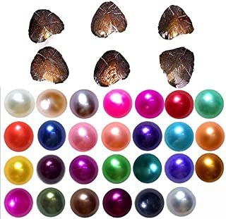2018-Freshwater Cultured Love Wish Pearl Oyster with Round Pearl Inside 20 Colors (Random Color 20 PCS 7-8mm)