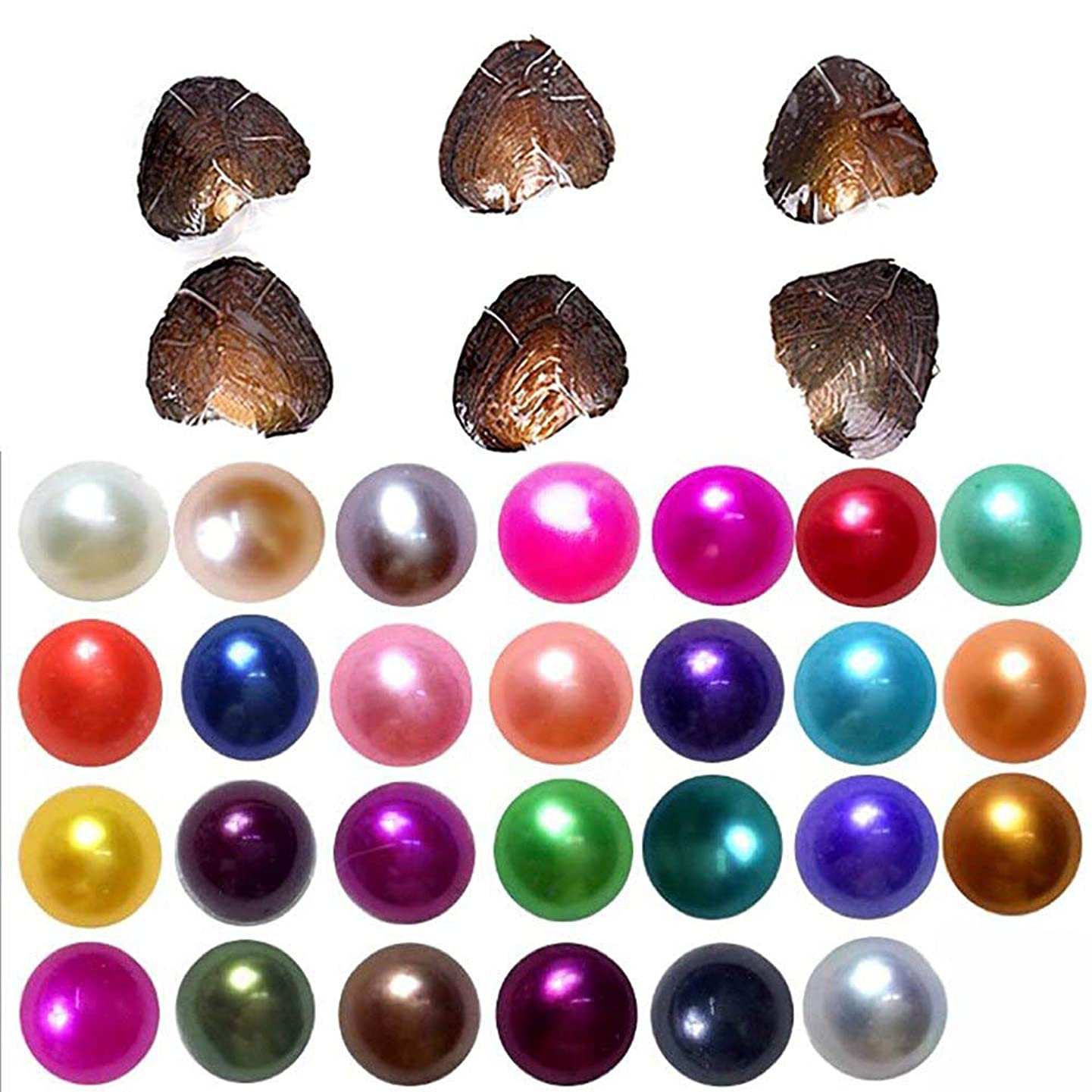 2018-Freshwater Cultured Love Wish Pearl Oyster with Round Pearl Inside 15 Colors (Random Color 15 PCS 7-8mm)