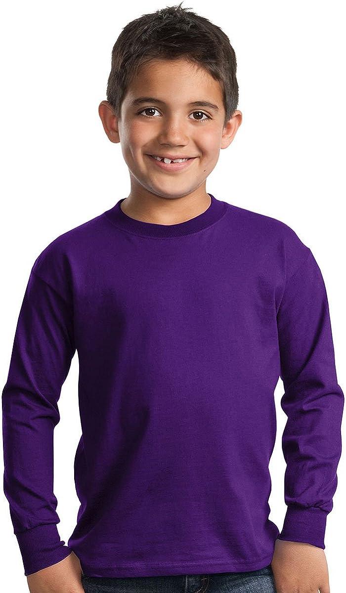 Port & Company Boys' Long Sleeve Essential T Shirt M Purple