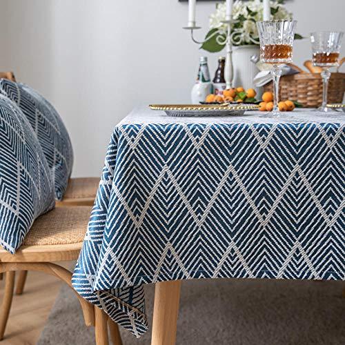 YuHengJin Mantel Mesa Rectangular Antimanchas Cubremesa Resistente Al Desgaste de Lino de Algodón para de Hogar Picnic del Hotel Tienda de Café Azul 135×240cm