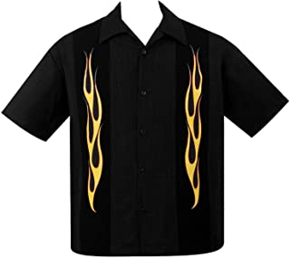 Steady Men's Flame N Hot Button Up in Black Yellow Orange Bowling Shirt Rat Rod Retro