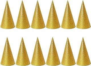 BESTOYARD バースデー帽子 三角帽子 王冠 誕生日 パーティー 飾り お祝い 手作り パーティー小物 子供 大人 イベント演出 12個セット(ゴールデン)