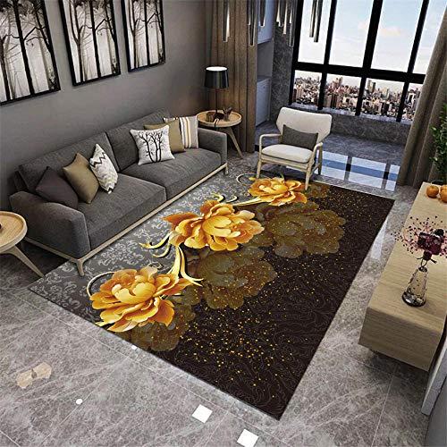 DJHWWD Alfombra Habitacion Juvenil Alfombra de salón Amarillo Estilo Moderno patrón de...