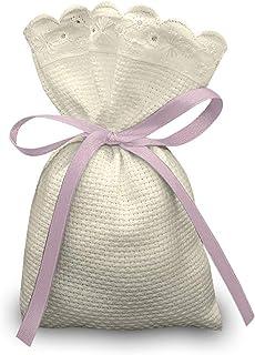 Crociedelizie, Stock 40 sacchetti bomboniere portaconfetti segnaposto in tela aida ecrù rifinitura in pizzo sangallo da ri...