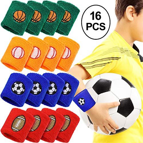 Gejoy 16 Pieces Sports Wristbands Wrist Sweatbands Children Sweat Bands for Kids Soccer Baseball Football Basketball Sports