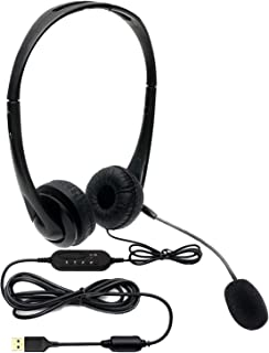 Movo HSM-1 USB Headset with Microphone - Universally Compatible with Laptop/Desktop, PC and Mac, Perfect for Podcasting, G...