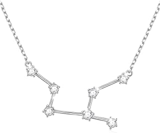 925 Sterling Silver CZ Astrology 12 Constellation Horoscope Sign Astrology Zodiac Star Necklace Birthday Gifts for Women G...