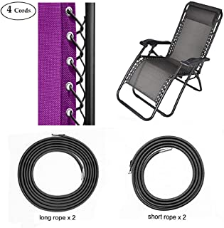 SS&CC Zero Gravity Chair Replacement Cords (4 Cords), Anti Gravity Chairs Replacement for Chair Repair, Elastic for Lawn Chair Patio Recliner Chair Repair Kit-Black