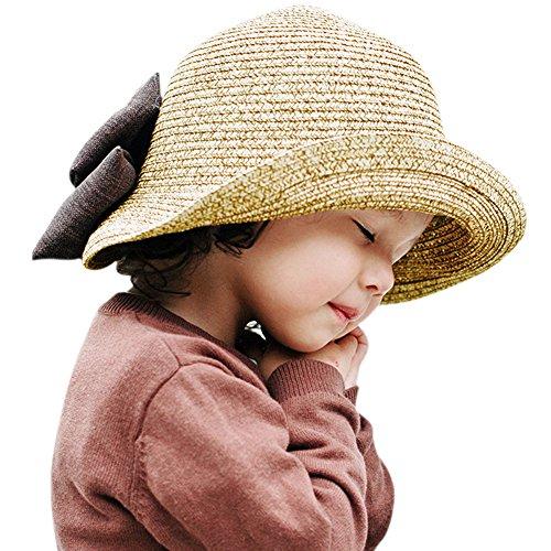 CHIC-Chapeau Capeline d'été Printemps Fille Enfant Bébé Protection Soleil Nœud Papillon Pliage Voyage Plage Beach (48-54cm, Beige)