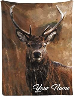 CUXWEOT Custom Throw Blanket with Name Personalized Oil Painting Deer Super Soft Fleece Blanket for Gift Couch Sofa Bed (3...