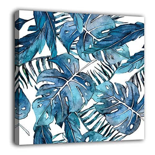 Tropical Plant Leaf Wall Art Blue Botanical Plants Watercolor Canvas Picture Modern Artwork Contemporary Art Print Framed for Bathroom Bedroom Living Room Home Office Kitchen Wall Decor 16' x 16'