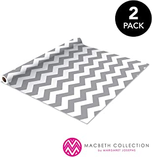 The Macbeth Collection, Decorat 2 Pack Self Adhesive Shelf Liner, Contact Paper, Durable and Strong for Drawers, Shelves, Kitchen, Scrap booking, Classrooms & Desks, Decorative, Rugby Chevron Graphite