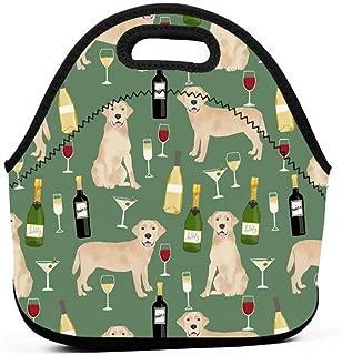 黄色ラボワインラブラドールレトリーバー犬犬種グリーンランチバッグ断熱サーマルランチトートアウトドア旅行ピクニックキャリーケースランチボックスハンドバッグ付きジッパー
