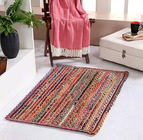 Mishran - Alfombra trenzada pequeña y respetuosa con el medio ambiente, con yute natural y material reciclado multicolor, 60 cm x 90 cm
