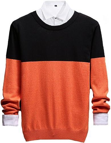 Jdfosvm Les Hommes en Pull tricoté Le Pull, Tour de Cou Un Pull,Orange,XXXL