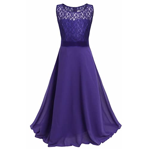 7f574e18bcb iEFiEL Big Girls Lace Chiffon Flower Girl Dress Wedding Prom Dance Ball  Party Maxi Gown