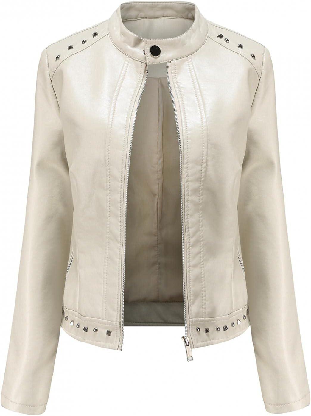 Women's Zipper Faux Leather Jacket Punk Style Stand Collar Long Sleeve Biker Motorcycle Short Outwear Coat