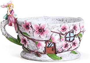 Georgetown Home and Garden Miniature Fairy Garden Cherry Blossom Teacup Planter