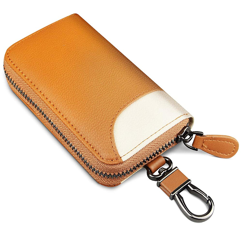 キーケース 車キーケース レザー スマートキーケース メンズ カードキーケース 本革 6連 2つ外側ポケット カード入れカラビナ付き 大容量