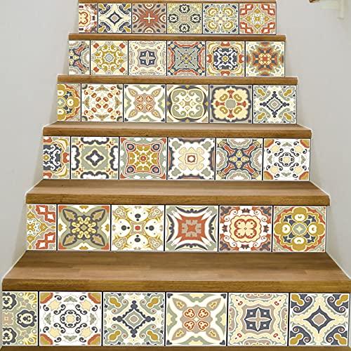 Pegatinas para escaleras, 6 calcomanías extraíbles para escaleras, PVC autoadhesivo para escaleras, calcomanía para piso, calcomanía, mural, papel tapiz, decoración del hogar, 18X100cm(Color:4)