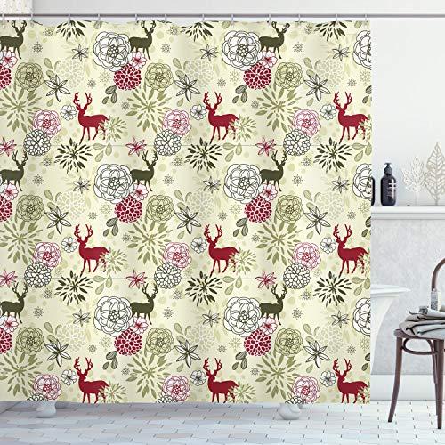ABAKUHAUS Winter Duschvorhang, Deer Blumen Weihnachten, Waschbar & Leicht zu pflegen mit 12 Haken Hochwertiger Druck Farbfest Langhaltig, 175 x 200 cm, Hellgrün Olive Green Ruby
