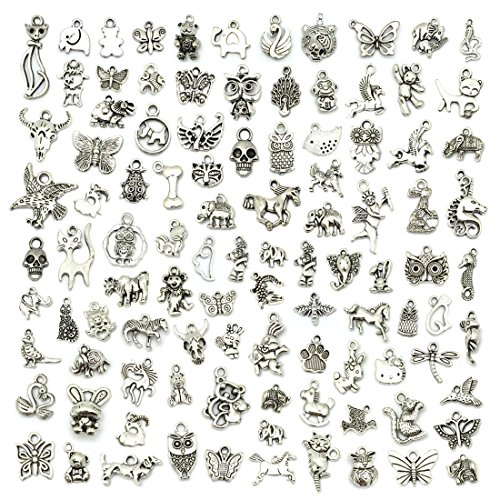 JIALEEY Wholesale 100 PCS Mixed No Repeated Silver Pewter Smooth Metal Charms Pendants DIY for Necklace Bracelet Dangle Jewelry Making and Crafting, Animal Charms