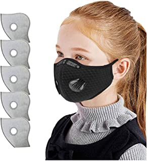 Polwer Children Face Bandanas with Breathing Valve+5 Replacement Filter, Washable Reusable, Kids Face Size (Black)