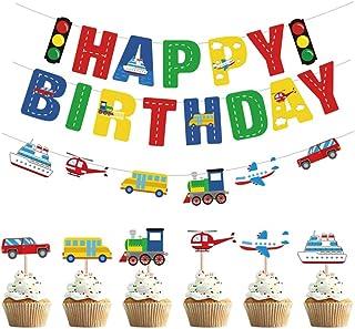 Amosfun Happy Birthday Bunting Banners Garland Transportation Cupcake Toppers Car Bus Train Plane Ship DIY Cupcake Toppers...