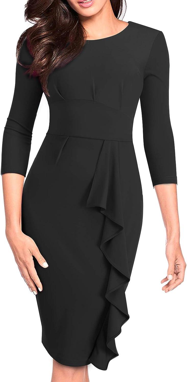 HOMEYEE Women's 3 4 Sleeve In a popularity Ruffle Work Ranking TOP14 to Church Wear Bodycon Dr