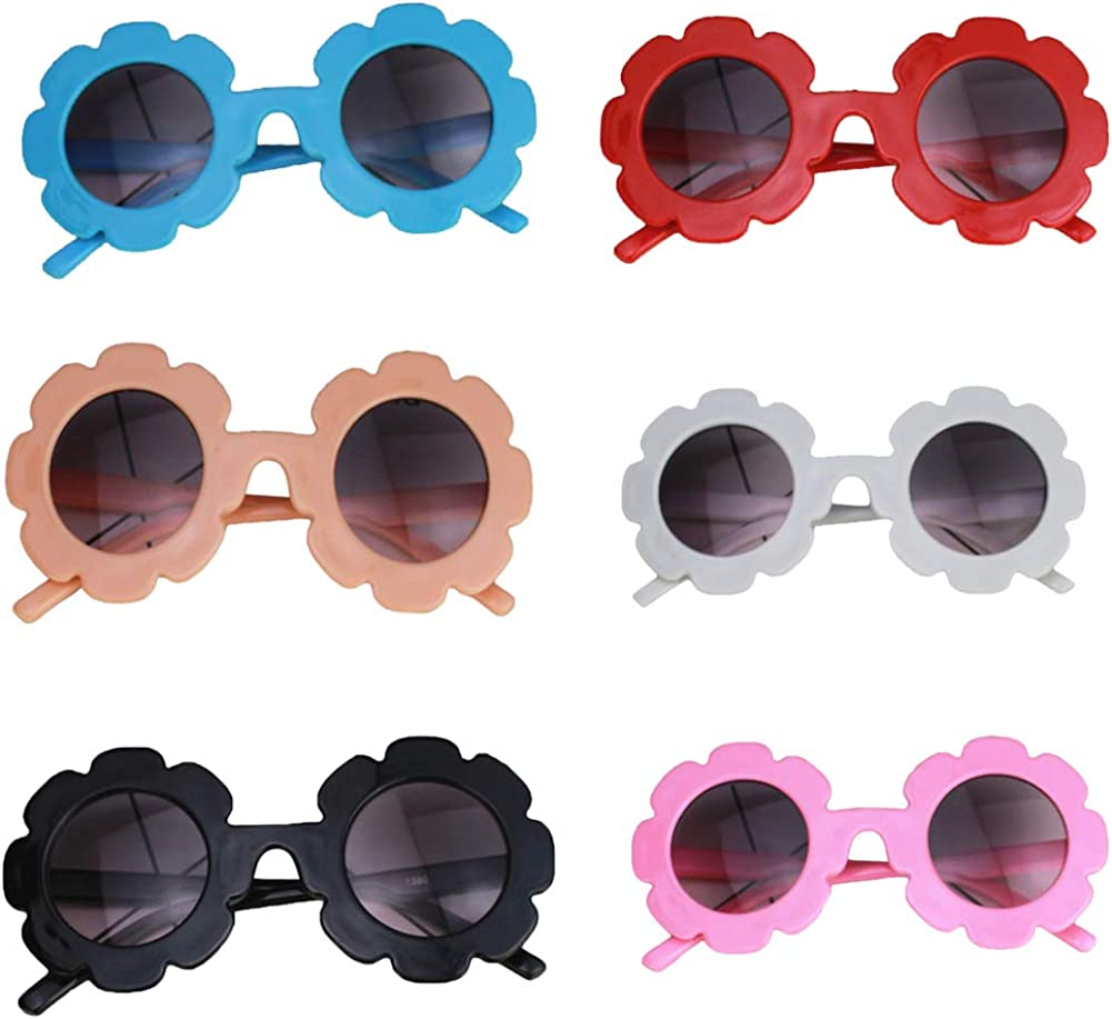 Toddler Baby Girls Cute Daisy flower sunglasses 6 Pairs UV 400 Protection Eyewear Glasses for Party Outdoor Beach