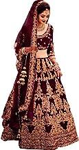 Vetrokart Women's Silk Blend Semi-stitched Lehenga Choli (Maroon_Free Size)