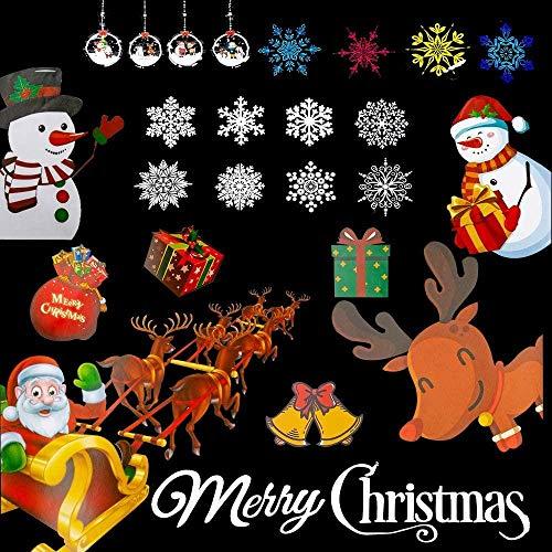 xianguang Etiqueta engomada de la Ventana de Navidad con patrón de Dibujos Animados de Navidad Etiqueta de la Ventana de Copo de Nieve de Navidad Transparente