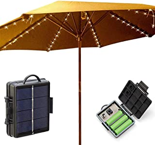 Solar Powered Umbrella Lights, Patio Umbrella Lights 8 Lighting Modes 104 LED Lights, LED Fairy String Lights for Outdoor Beach Deck Garden Christmas Decoration(Include 3xAA Rechargeable Battery)