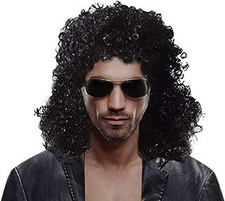 Men's Rocker Wig 70s 80s Party Fancy Dress Halloween Wig Long Curly Black Mullet Anime Wig