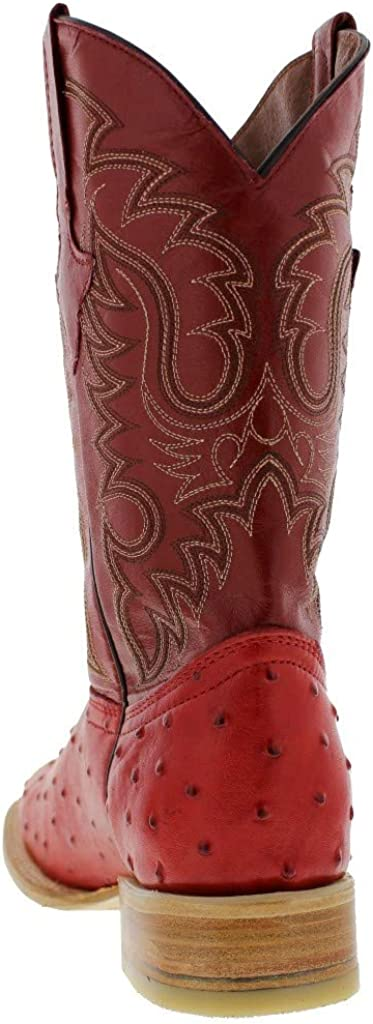 Mens Ostrich Quill Design Leather Cowboy Boots Square Toe Texas Legacy
