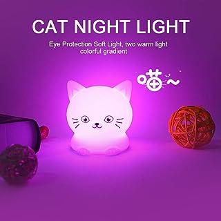 NIGHT LIGHT CAT.Luz nocturna infantil portátil y recargable usb,de 9 colores,luz quitamiedos bebe LED multicolor con mando. lampara mesa infantil,Silicona suave y lavable