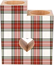 Romantic Wooden Heart Shaped Couple Candle Holders, Christmas Tartan Plaid Candle Holder Heart Pedestal for Valentines Day...