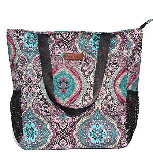 Original Floral Water Resistant Large Tote Bag Shoulder Bag for Gym Beach Travel Daily Bags Upgraded ([R] Pattern)