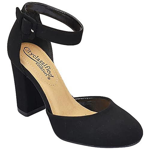 f2744826d9b Black Heel Closed Toe with Ankle Straps: Amazon.com