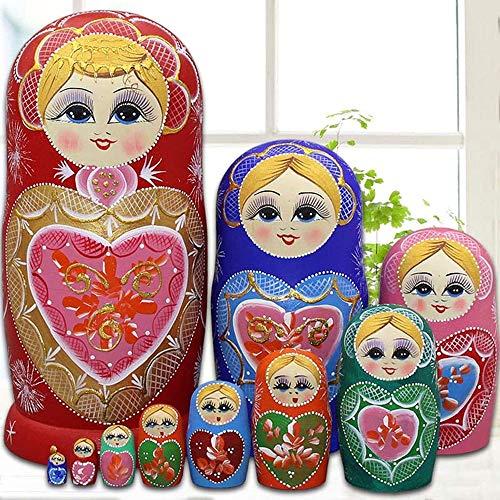 YCX Russische Matroschka Puppen 10 Teile/Satz Matroschkas Holz,Figuren Babuschka Weihnachten Geschenk Kreative Schöne Set,Rot