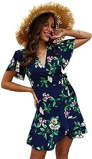 Women's Summer Bohemian Floral Printed Wrap V Neck Short Sleeve Ruffle Mini Dress