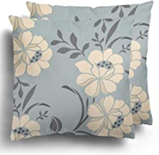 Starowas Throw Pillows Covers Set of 2 Abstract Floral Pattern Vintage Album Bloom Chic Collection Cute Polyester Cushion Case Bed Home Decor 18 x 18 Inches