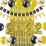SUNBEAUTY Silvester Deko 2022 Neujahr Party Happy New Year Banner 2022 Gold Folienballons Neujahreszeit Dekoration (Folie Ballons)