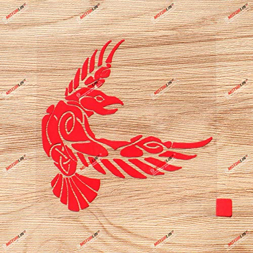 Odin Raven Decal Sticker Vinyl Viking Norse Nord Celtic Knot - Red 4 Inches - for Car Boat Laptop 01291