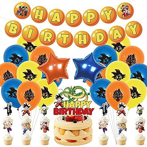 Hilloly Kit de Globos de Dragon Ball Artículos de Fiestas para Fanáticos de Dragon Ball Decoraciones para Fiestas, Incluyen Adorno para Tarta, Adornos para Cupcakes Globos para Niños Dragon Ball Fans