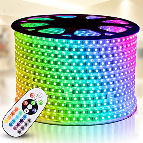 RGB LED Strip Light, IEKOV AC 110-120V Flexible/Waterproof/Multi Colors/Multi-Modes Function/Dimmable SMD5050 LED Rope Light with Remote for Home/Office/Building Decoration (164ft/50m)