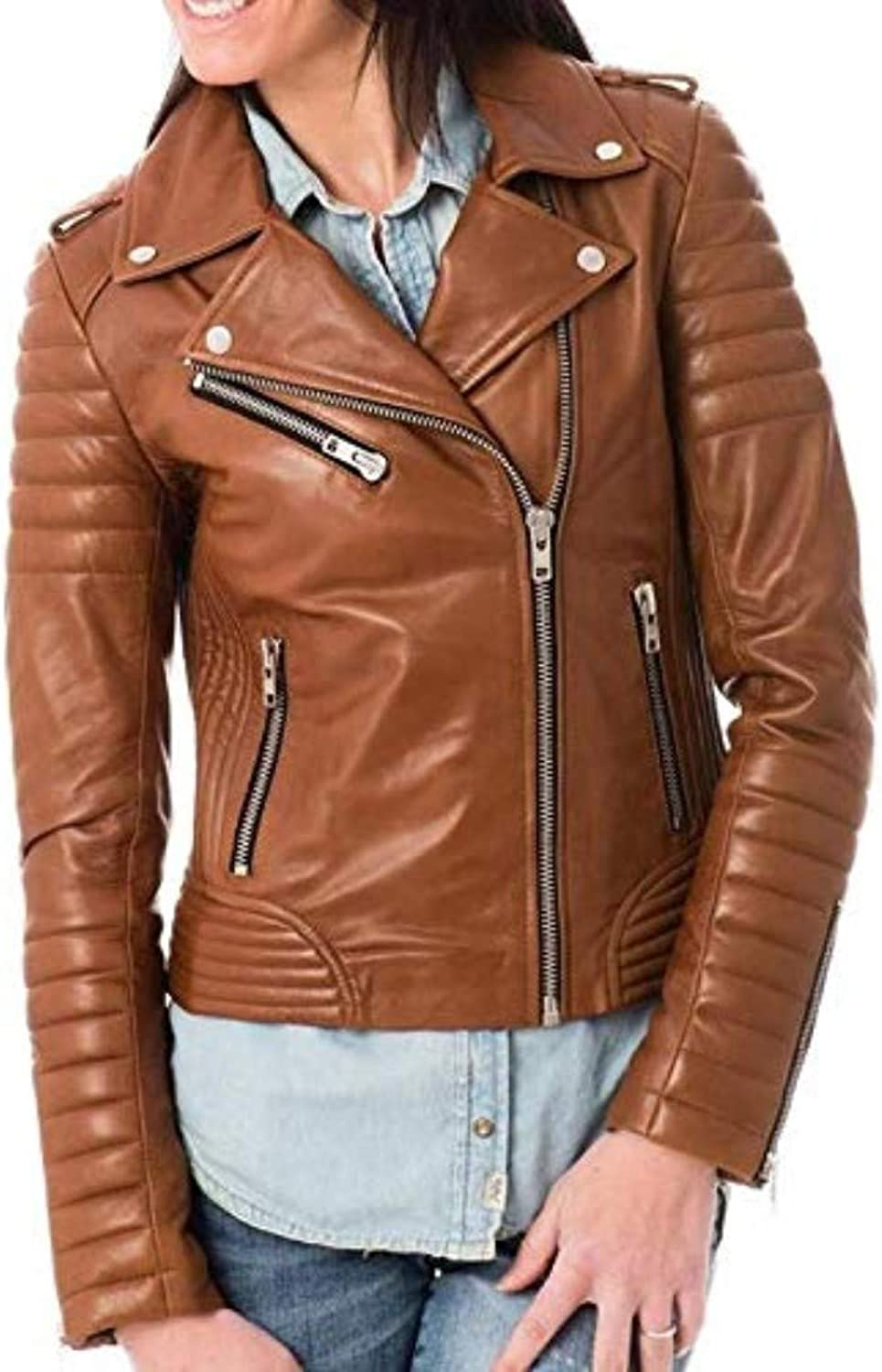 New Fashion Style Women's Leather Jackets Brown I49_