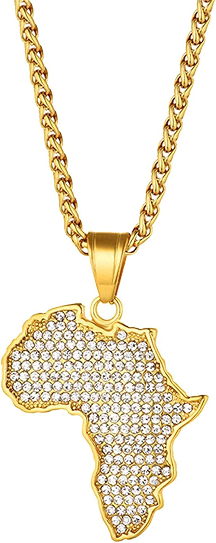 45Cm Map Pendant Necklace For Women Ste Sale item OFFicial Men Gold Color Stainless