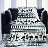 299 Manta de franela de invierno con diseño floral de renos noruegos, manta de cama para colcha/colcha/funda de cama, suave, ligera, cálida y acogedora mediana (127 x 152 cm)