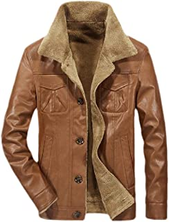 Men Sherpa Fleece Lined Jackets Warm Coat with Fur Collar Button Quilted Coat